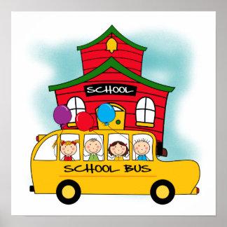 Escuela y camisetas y regalos del autobús escolar póster