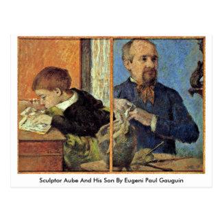 Escultor Aube y su hijo de Eugeni Paul Gauguin Tarjetas Postales