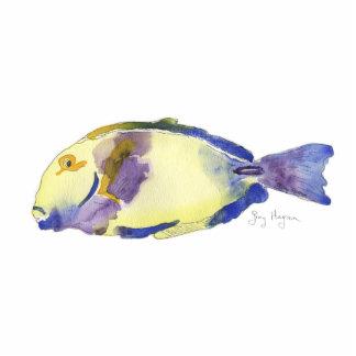 Escultura amarilla/azul de la foto de los pescados fotoescultura vertical