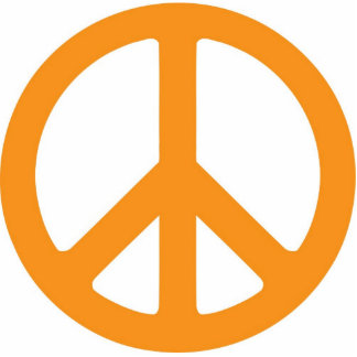 Escultura anaranjada del símbolo de paz esculturas fotográficas