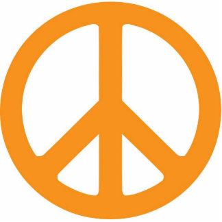 Escultura anaranjada del símbolo de paz fotoescultura vertical