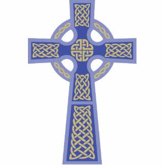 Escultura azul de la foto de la cruz céltica fotoescultura vertical