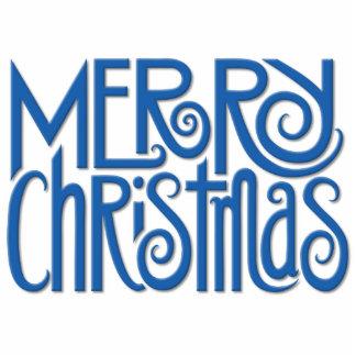 Escultura azul de la foto de las Felices Navidad Fotoescultura Vertical