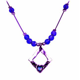 Escultura azul de la foto del collar de diamantes fotoescultura vertical