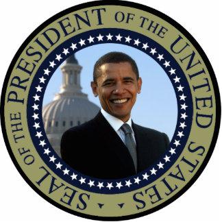 Escultura azul de la foto del sello de Obama Fotoescultura Vertical