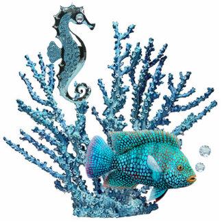Escultura azul del arrecife de coral fotoescultura vertical