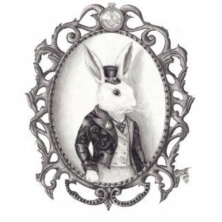 Escultura blanca Alicia de la foto del conejo en Fotoescultura Vertical