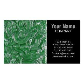escultura china del dragón del jade verde tarjetas de visita
