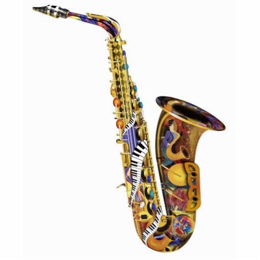 Escultura colorida de la tabla del piano del saxof esculturas fotográficas