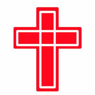 Escultura cruzada roja y blanca cristiana de la fo fotoescultura vertical