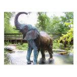 Escultura de bronce del elefante africano tarjetas postales