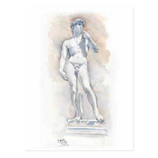 Escultura de David de la postal de la bella arte d