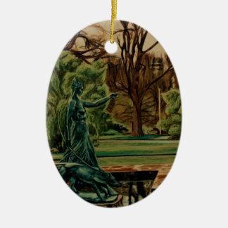 Escultura de Diana Artemis en jardines Adorno Navideño Ovalado De Cerámica