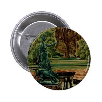 Escultura de Diana Artemis en jardines Pin Redondo De 2 Pulgadas