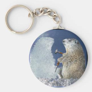 Escultura de hielo del día de la marmota llaveros