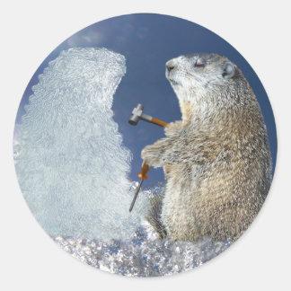 Escultura de hielo del día de la marmota pegatina redonda
