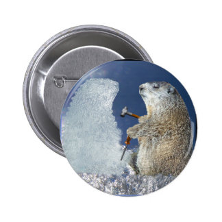 Escultura de hielo del día de la marmota pin redondo de 2 pulgadas