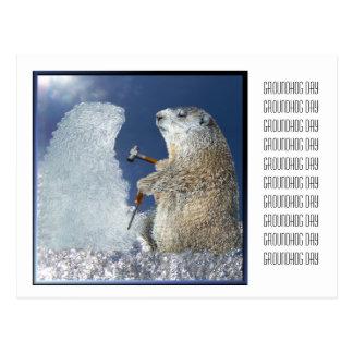 Escultura de hielo del día de la marmota postales