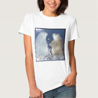 Escultura de hielo del día de la marmota remeras