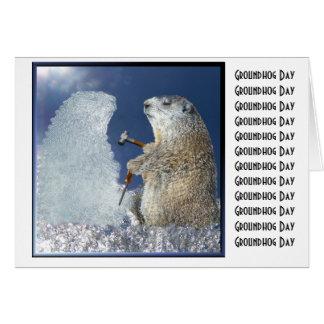 Escultura de hielo del día de la marmota tarjeta de felicitación