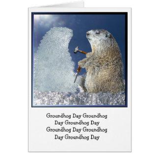 Escultura de hielo del día de la marmota tarjetón