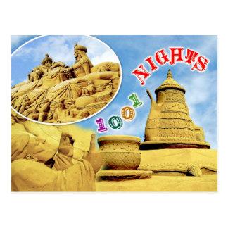 Escultura de la arena de las noches árabes, tarjeta postal