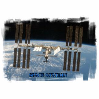 Escultura de la estación espacial fotoescultura vertical