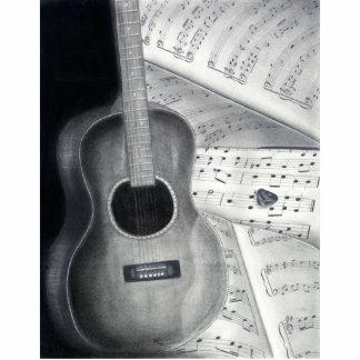 Escultura de la foto de la guitarra y de la partit fotoescultura vertical