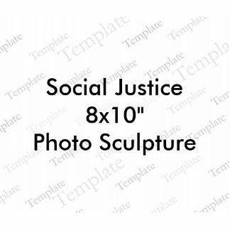 """Escultura de la foto de la justicia social 8x10"""" fotoescultura vertical"""