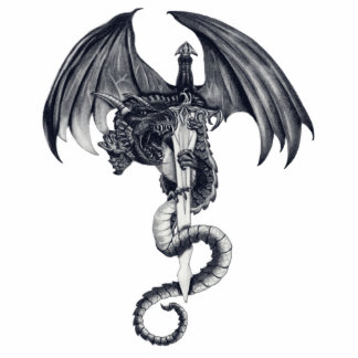 Escultura de la foto del dragón y de la espada fotoescultura vertical