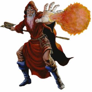 Escultura de la foto del mago de la bola de fuego llavero fotográfico