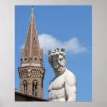 escultura de Neptuno en Fontana di Nettuno Póster