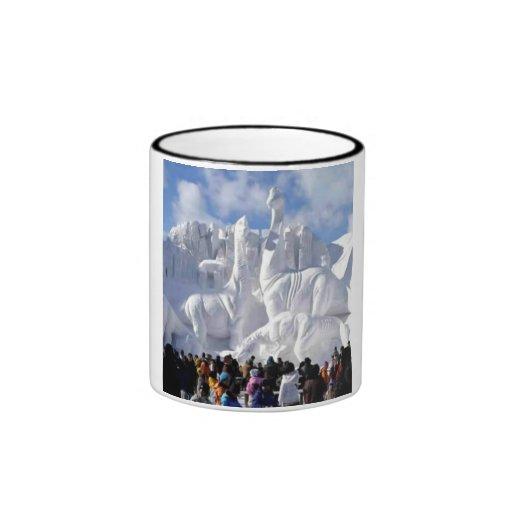 Escultura de nieve taza a dos colores