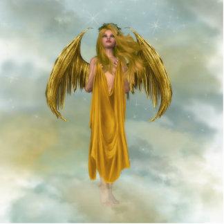 Escultura de oro de la foto del ángel fotoescultura vertical