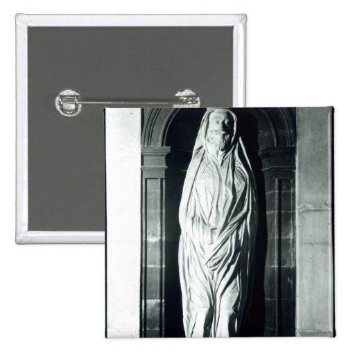 Escultura de piedra de John Donne en su cubierta Pin Cuadrada 5 Cm