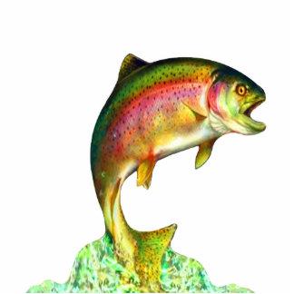 Escultura de salto de la trucha arco iris fotoescultura vertical