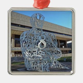 Escultura del alquimista adorno navideño cuadrado de metal