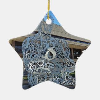 Escultura del alquimista adorno navideño de cerámica en forma de estrella