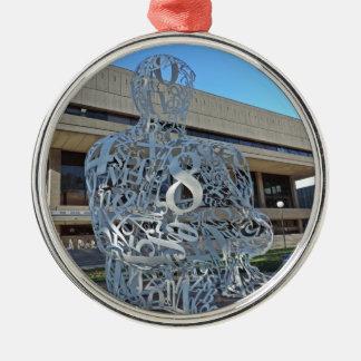 Escultura del alquimista adorno navideño redondo de metal