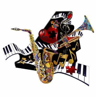 Escultura del arte de la trompeta 3D del saxofón d Fotoescultura Vertical