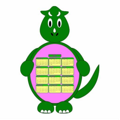 Escultura del calendario del dinosaurio verde fotoescultura vertical
