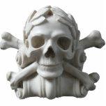 Escultura del esqueleto del cráneo y del pirata de esculturas fotográficas