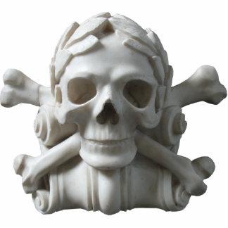 Escultura del esqueleto del cráneo y del pirata de fotoescultura vertical