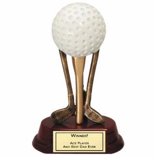 Escultura del jugador del as del golf fotoescultura vertical