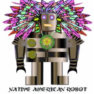 Escultura del robot del nativo americano fotoescultura vertical