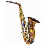 Escultura del saxofón del regalo del músico de jaz fotoescultura vertical