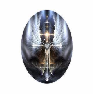 Escultura divina de la foto de la cruz de ala del fotoescultura vertical