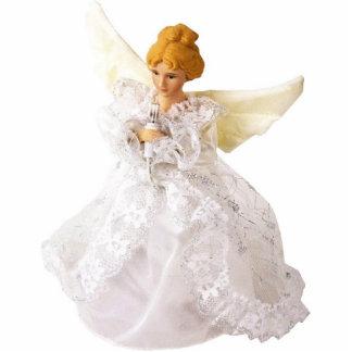 Escultura hermosa del ángel, en vestido del cordón fotoescultura vertical