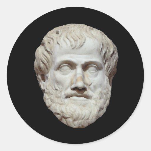 Escultura principal de Aristóteles Pegatina Redonda