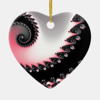 Escultura radiante adorno navideño de cerámica en forma de corazón